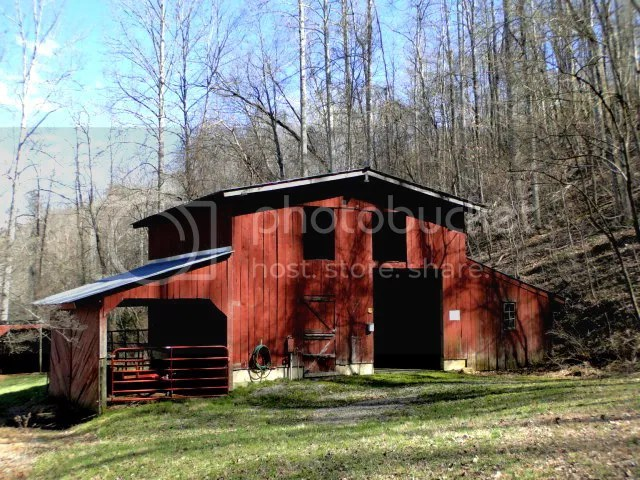 Beautiful red barn for horses or other livestock, Franklin NC Farm for Sale, Homes with acreage in Franklin NC