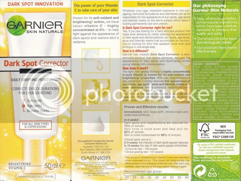 Garnier Dark Spot Corrector Packaging