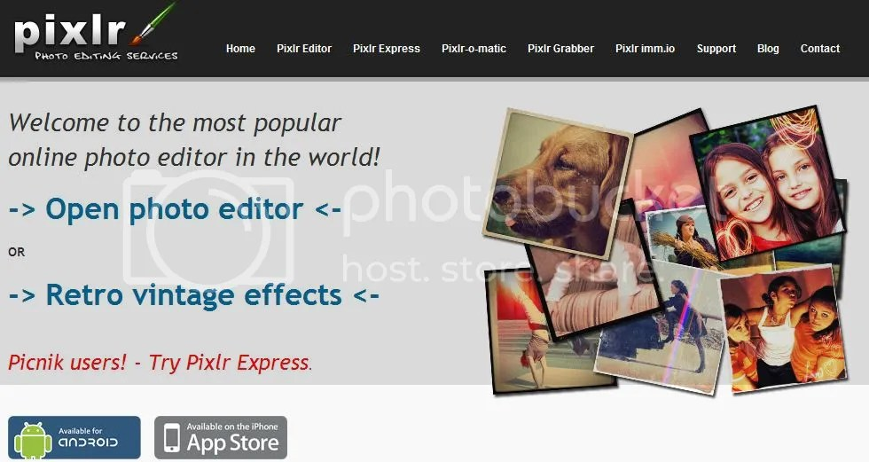 Pixlr Home Page