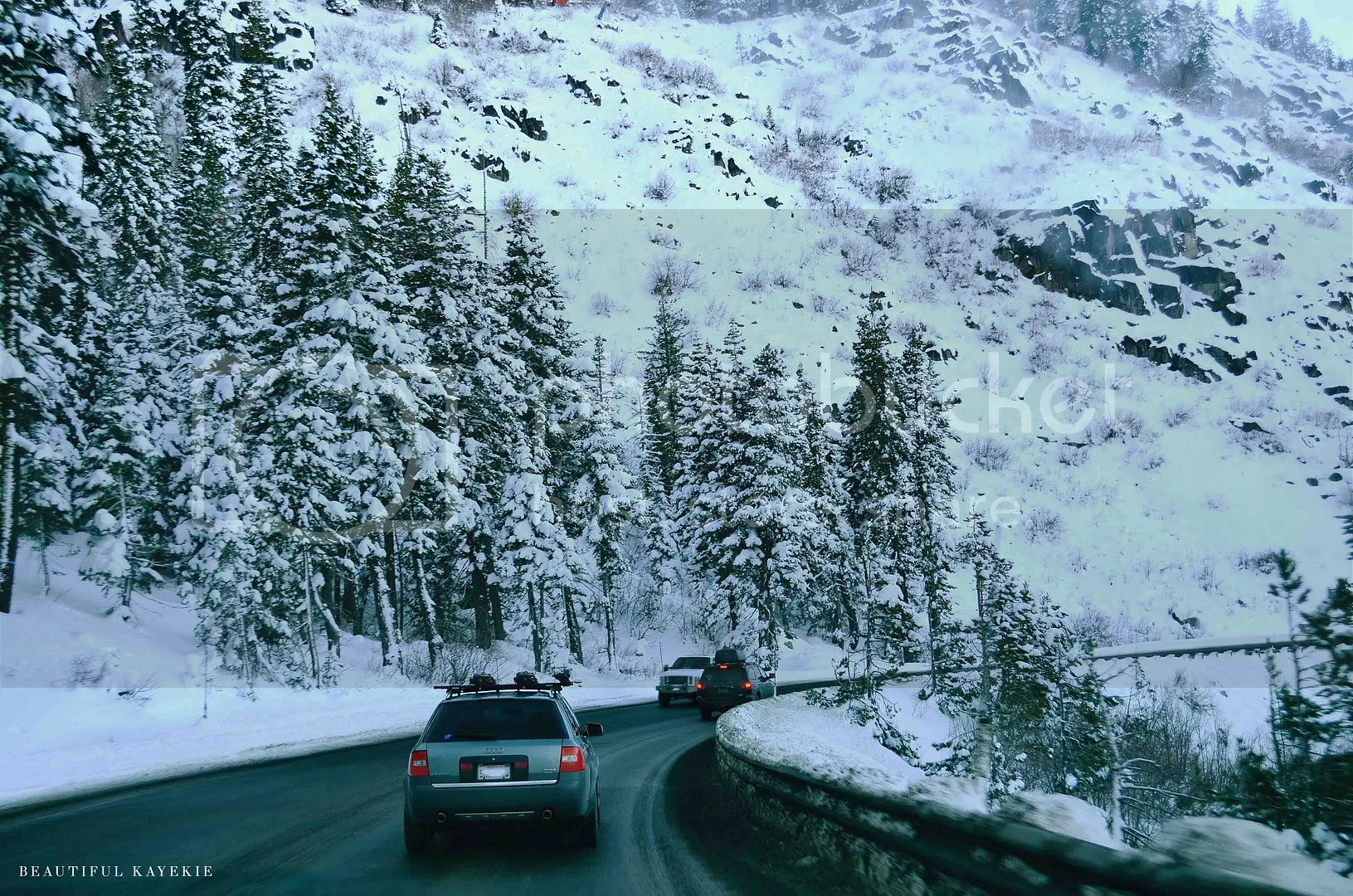 drive to lake tahoe in the snow