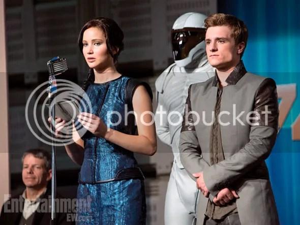 Jennifer Lawrence y Josh Hutcherson en En llamas
