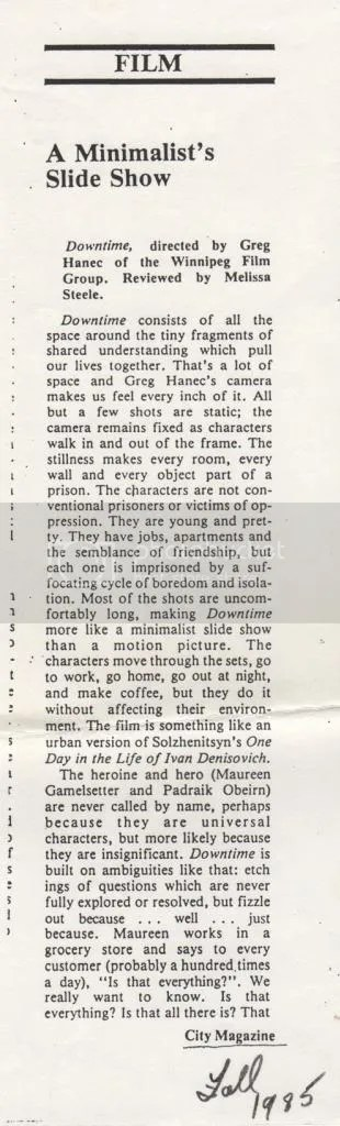 Downtime press city magazine article 1985