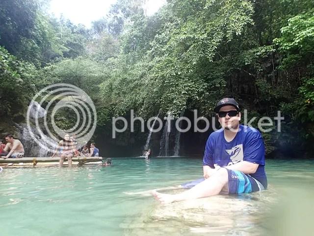 Foreign tourist visiting Kawasan Falls