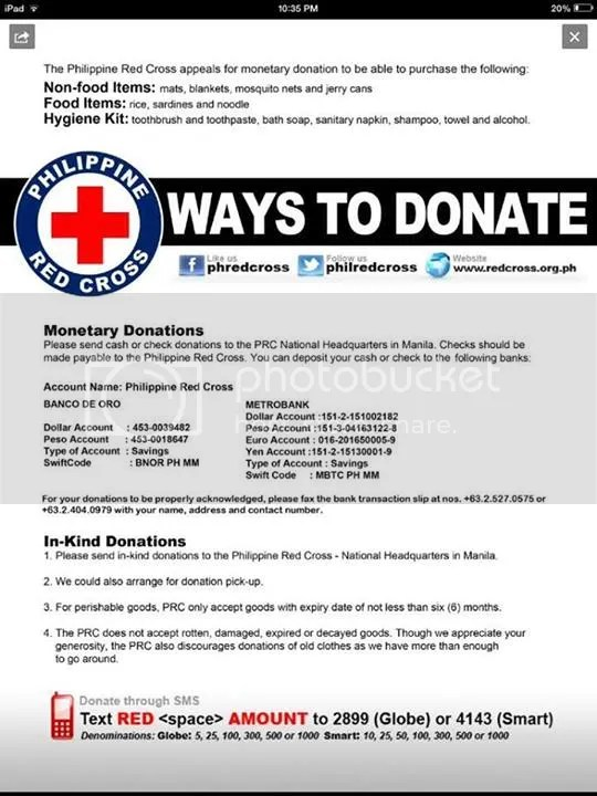 Philippine Red Cross contact numbers bank details