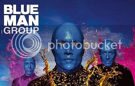blue man group, orang biru, blue man element, blue man musician, orang biru yang kreatif membuat muzik