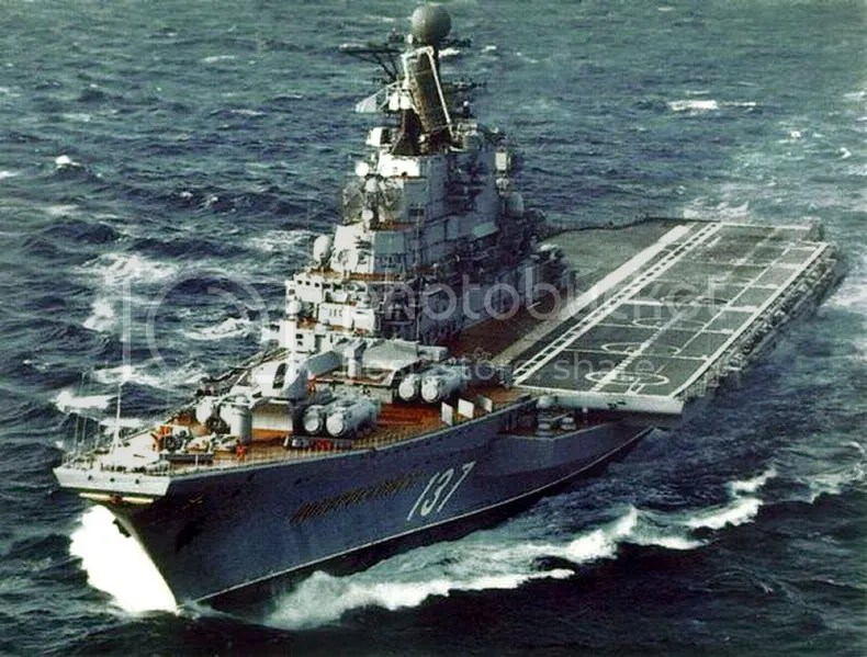 Kiev-class carrier Novorossijck. The half-deck is clearly visible in this picture, as is the ships cruiser-like bow, which is dominated by large anti-ship missile lauchers.