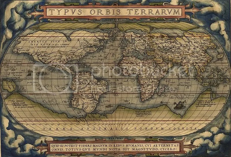 Home sweet home. Ortelius World Map, 1570.