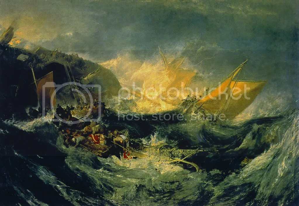 Unfortunately apt imagery. J.M.W. Turner, Shipwreck of the Minotaur.