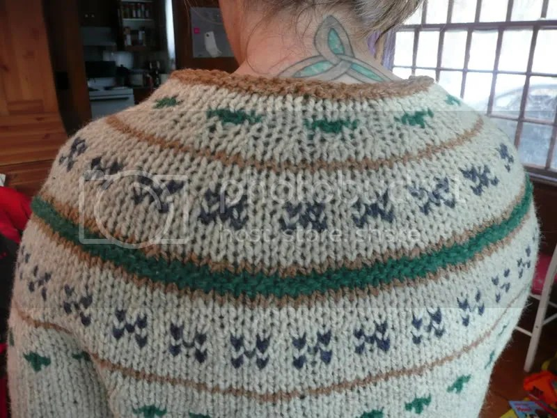 Back view.  It looks like I need to re-block the neck, the top motif wasnt so pulled before blocking