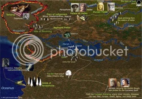 Mapa do Hades, o Reino dos Mortos