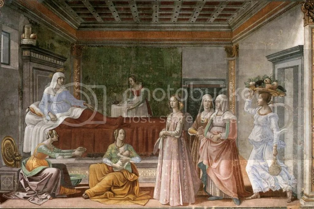 Domenico Ghirlandaio, Birth of St John the Baptist, Santa Maria Novella