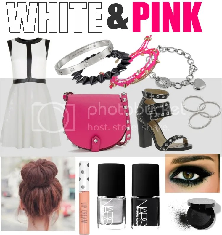 birthday, outfit, dress, white, shoes, sandals, studs, bag, pink, bracelets, hair bun, nail polish, inspiration, smokey eyes
