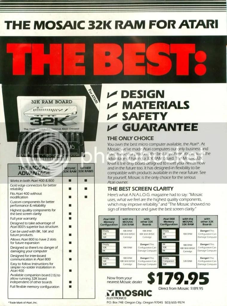 Mosaic Electronics ad 1982
