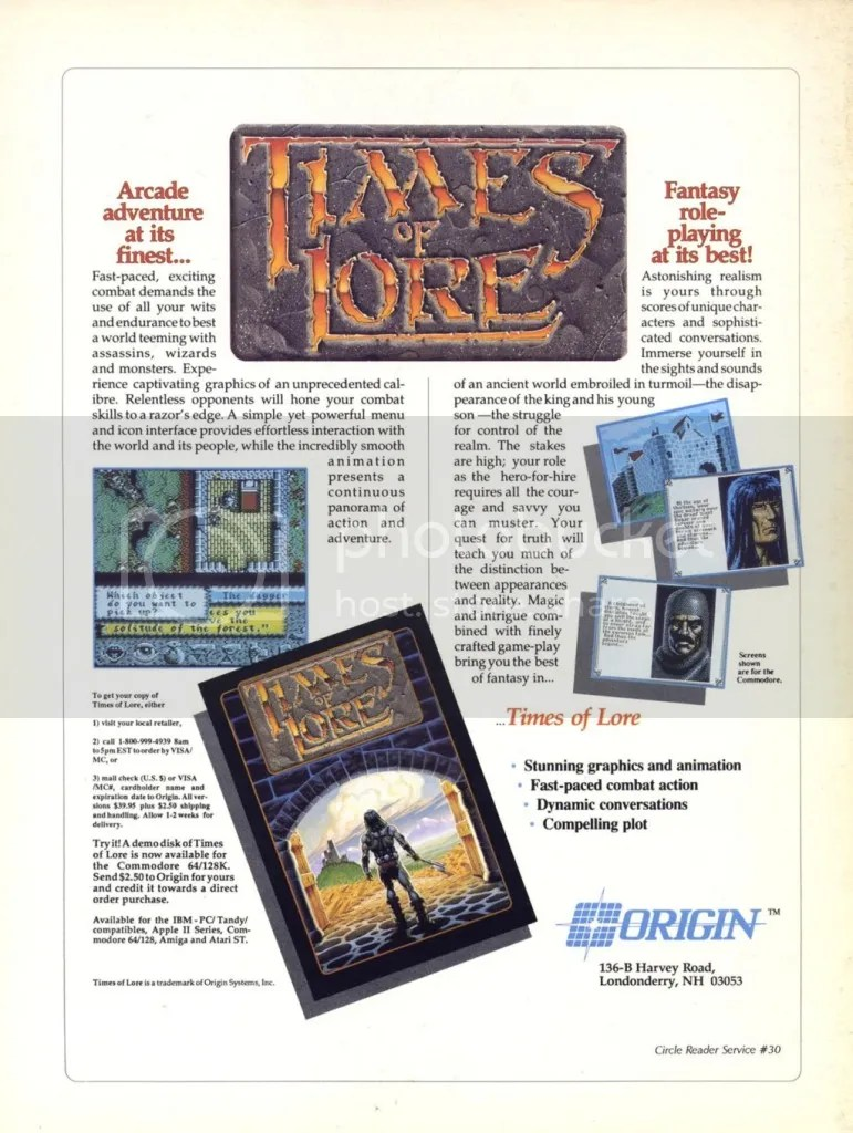 Times of Lore ad 1989