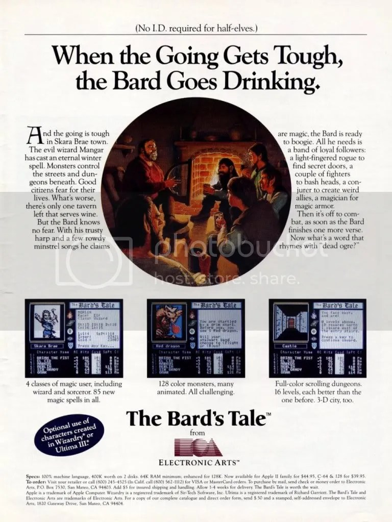 The Bard's Tale ad