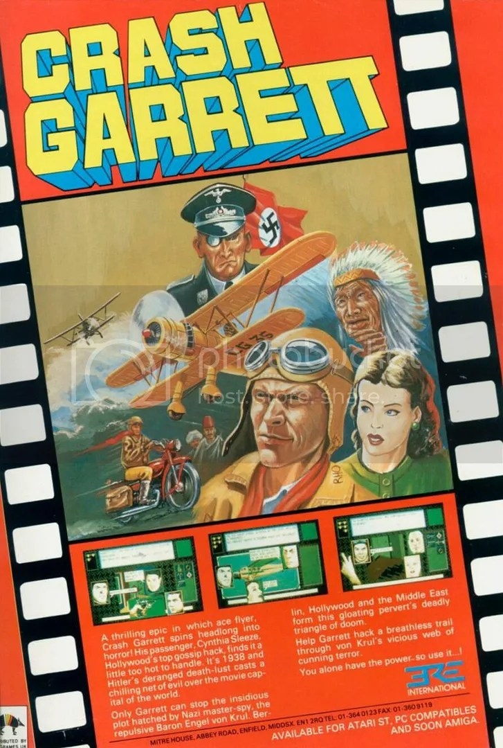 Crash Garrett evidently only appeared in Europe and wasn't carried over to the States. This UK ad is written with the same kind of punchy pulp that the relatively short game is also written in.