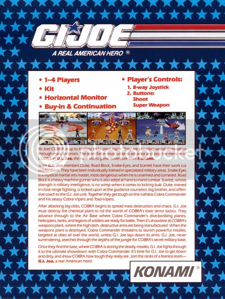 G.I. Joe arcade flyer back 1992