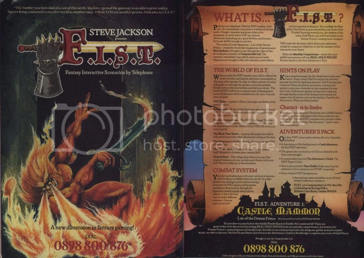 This impressive ad from the UK easily captured the spirit of Steve Jackson's adventures through dial-in. It laid out what players could expect, how they could get more info on the backdrop of the game, and turned out to be extraordinarily popular.