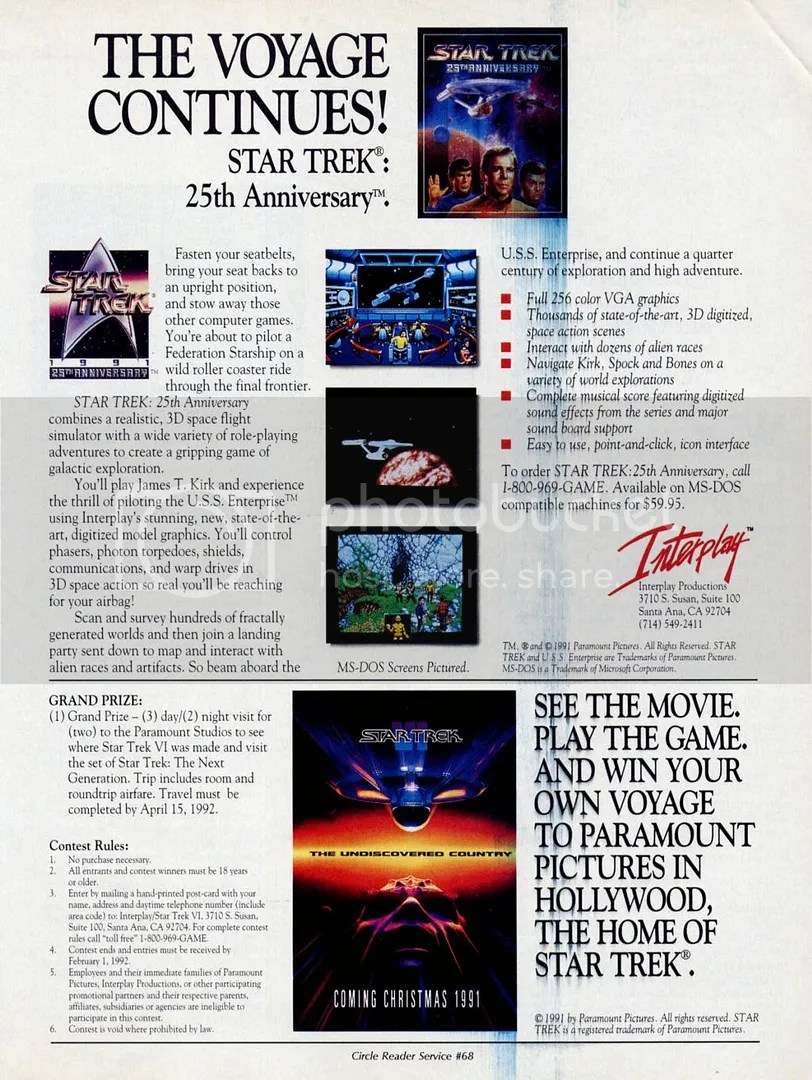 This ad from CGW in 1992 featured the game and a contest tie-in for Star Trek VI: The Undiscovered Country.