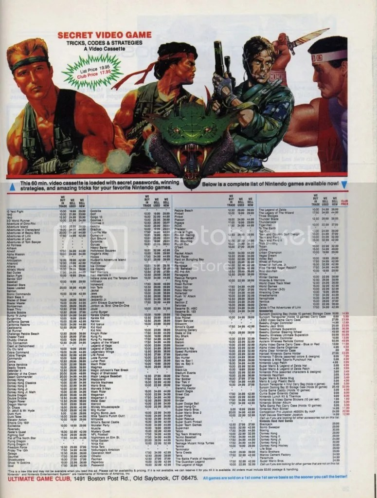 Used games ad for NES titles