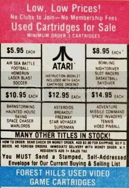 Used Games ad from the early 80s
