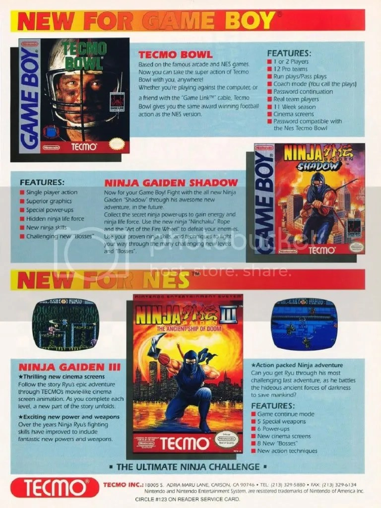 Tecmo ad from '91 with Ninja Gaiden III