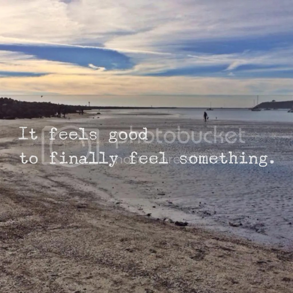 Manic side of Bipolar quote: It feels good to finally feel something. Half Moon Bay