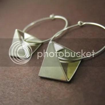 Pyramid Hoop Earring