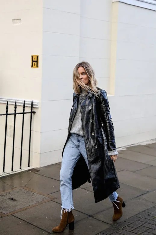 Le Fashion Blog Lucy Williams Gray Sweater Leather Trench Light Jeans Suede Boots Via Fashion Me Now