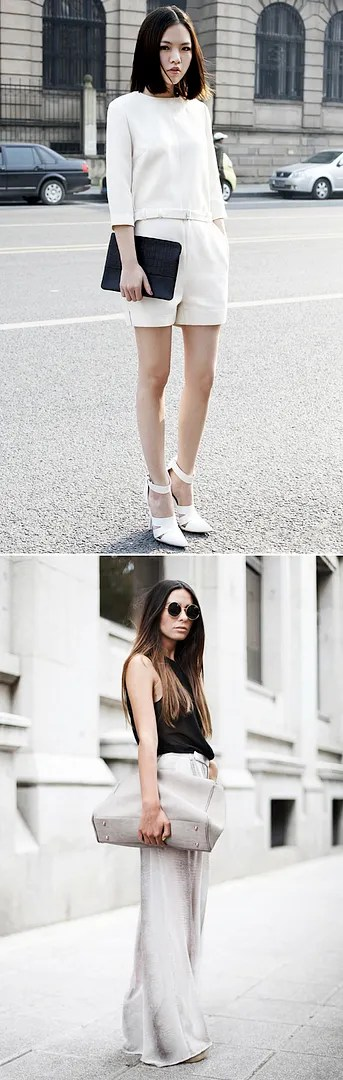 STYLE TROVE STREET STYLE MINIMAL LOOKS  WHITE CROP QUARTER SLEEVE TOP WHITE SHORTS ALEXANDER WANG WHITE HEELS SANDALS ANKLE STRAP SPRING SUMMER 2012 BLACK CROC CLUTCH SHEER BLACK TANK TOP OMBRE WHITE GREY GRAY WIDELEG PANT ROUND LENNON SUNGLASSES