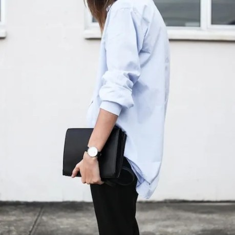 Le Fashion Blog Masculine Inspired Minimal Style Light Blue Button Down Shirt Daniel Wellington Watch Alexander Wang Prisma Double Envelope Clutch Bag Via Modern Legacy photo Le-Fashion-Blog-Masculine-Inspired-Minimal-Style-Button-Down-Shirt-Clutch-Bag-Via-Modern-Legacy.jpg