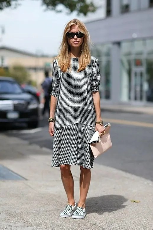 Le Fashion Blog -- 15 Ways To Wear Checkered Vans Slip On Sneakers -- Blogger, Look De Pernille, Street Style, Gingham Dress -- Via Harper's Bazaar -- photo 2-Le-Fashion-Blog-15-Ways-To-Wear-Checkered-Van-Slip-On-Sneakers-Pernille-Street-Style-Gingham-Dress-Via-Harpers-Bazaar.jpg