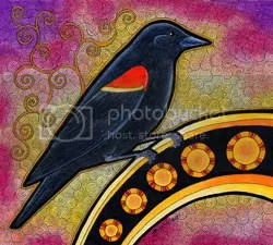 red winged blackbird as totem by Ravenari