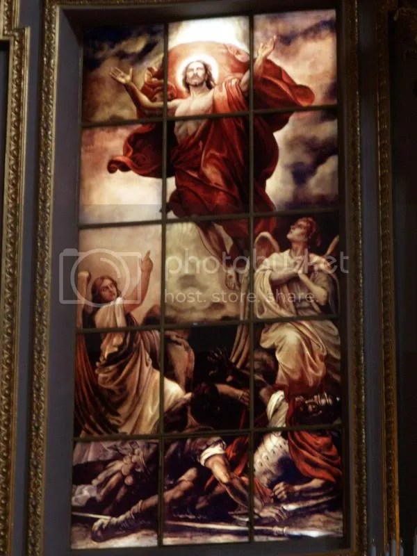 Description: Berlin, Germany: Berliner Dom (Cathedral): Resurrection of Christ (right altar window) (Luce-floreo etched) (1905, designed by Anton Von Werner; reconstructed 1987-1997)