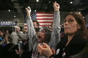 A Barack Obama supporter celebrates at the candidates's headquarters in Des Moines on Jan. 3. [Reuters/Jim Young]