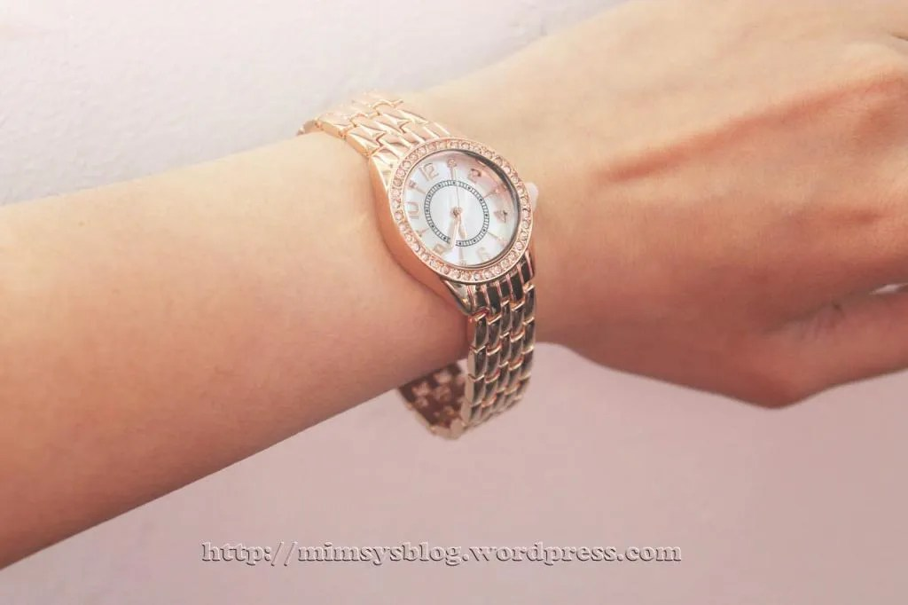 Merona Round Case Bracelet Watch with Stones - Rose Gold