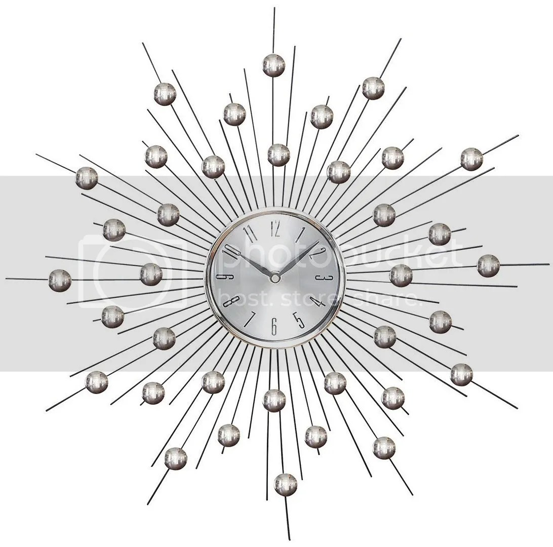 Oversized Round Contemporary Metal Clock Modern Glazed