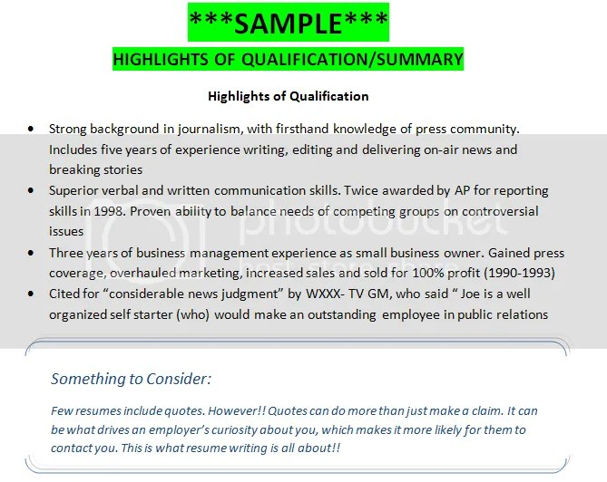 sample    highlights of qualifications   summary