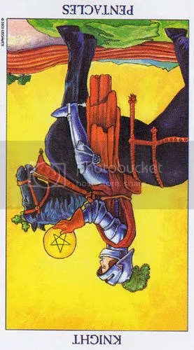 Radiant Rider-Waite Knight of Pentacles Reversed