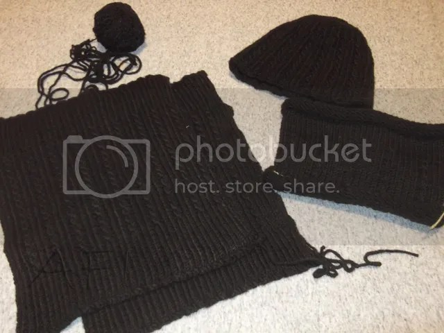 knitted hat scarf leg warmers
