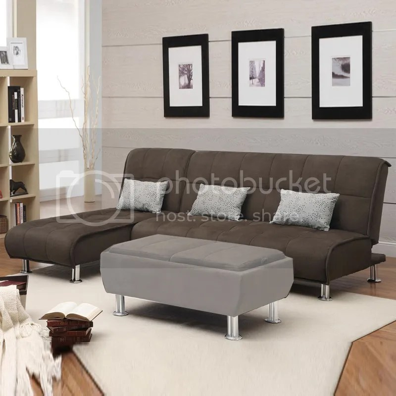 2 Pc Modern Convertible Brown Sectional Set Sofa Futon