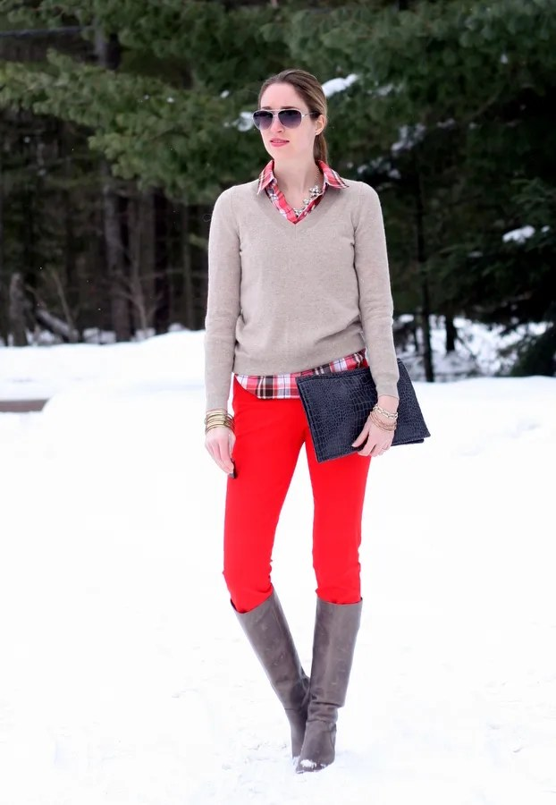 red pants plaid shirt cashmere winter outfit