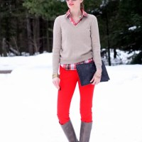 Getting over the winter blahs with red ankle pants
