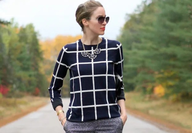 Gap windowpane sweater patten print mixing workwear