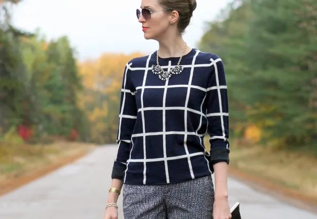 Fall workwear pattern print mixing j.crew fan necklace