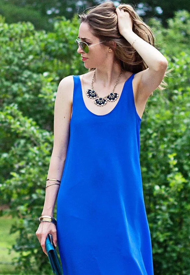 laura wears calf length maxi dress