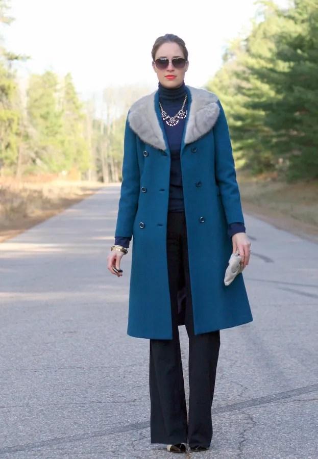 vintage wool coat with fur