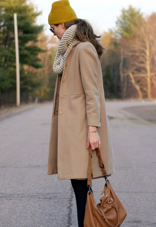 long beige wool coat