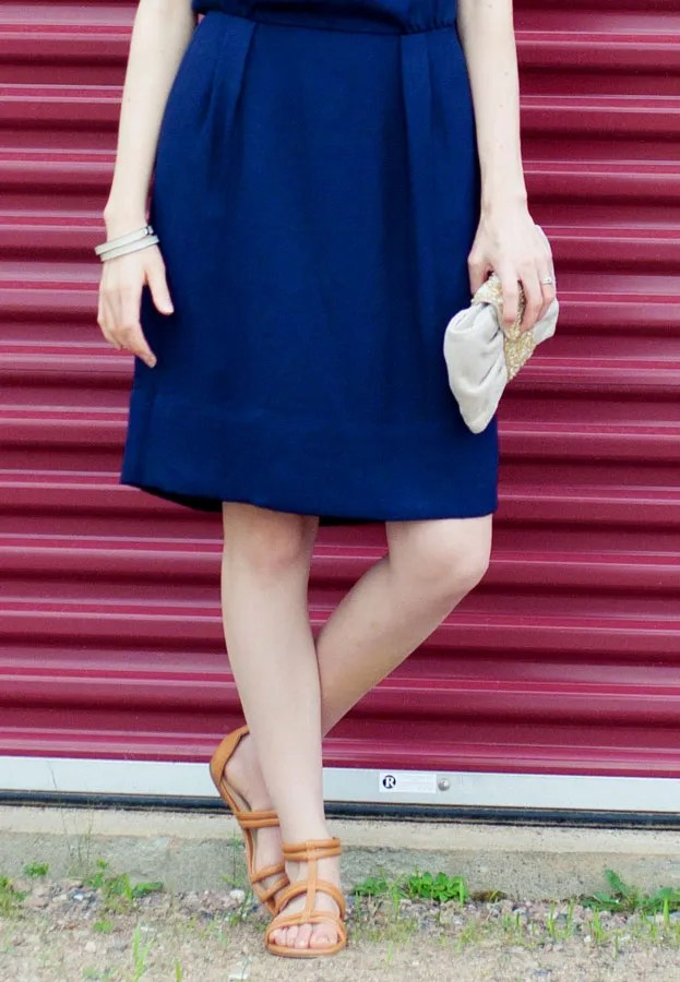Laura Wears... J.Crew navy dress and beige sandals