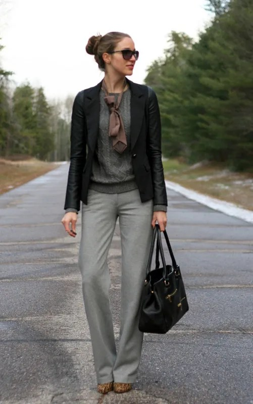 ponte dress pants faux leather
